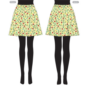 Skirt with pattern yellow ditsy-01